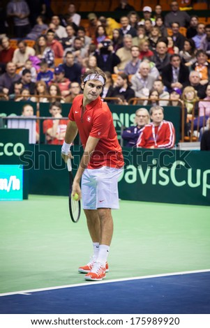 NOVI SAD - JANUARY 31: ROGER FEDERER of Switzerland during the Davis Cup match between Serbia and Switzerland, January 31 2014, Novi Sad, Serbia - stock photo