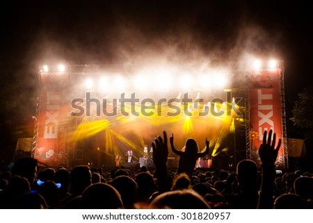 NOVI SAD, SERBIA - JULY 11 2015: Audience infront of the Main Stage at EXIT 2015 Music Festival, during John Newman's performance, on July 11, 2015 at the Petrovaradin Fortress in Novi Sad, Serbia.