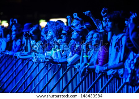 NOVI SAD, SERBIA - JULY 10: Audience infront of the Main Stage at EXIT 2013 Music Festival, during Viva Vox's performance on July 10, 2013 in the Petrovaradin Fortress in Novi Sad.  - stock photo