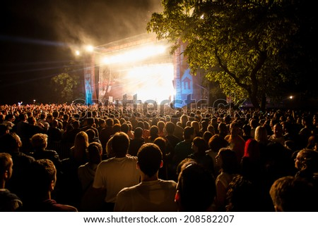 NOVI SAD, SERBIA - JULY 13: Audience infront of the Main Stage at EXIT 2014 Music Festival, during HURTS' performance, on July 13, 2014 in the Petrovaradin Fortress in Novi Sad.