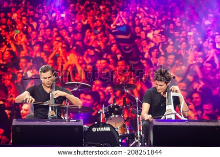 NOVI SAD, SERBIA - JULY 12: 2Cellos performs at EXIT 2014 Best Major European Music Festival, on July 12, 2014 at the Petrovaradin Fortress in Novi Sad, Serbia. - stock photo