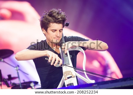 NOVI SAD, SERBIA - JULY 12: 2Cellos performs at EXIT 2014 Best Major European Music Festival, on July 12, 2014 at the Petrovaradin Fortress in Novi Sad, Serbia. - stock photo