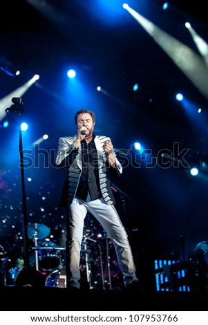 NOVI SAD, SERBIA - JULY 12: Duran Duran performs at EXIT 2012 Music Festival, on July 12, 2012 at the Petrovaradin Fortress in Novi Sad, Serbia. (Simon Le Bon)