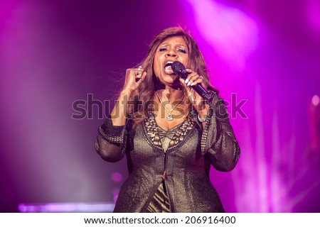 NOVI SAD, SERBIA - JULY 11: Gloria Gaynor performs at EXIT 2014 Best Major European Music Festival, on July 11, 2014 at the Petrovaradin Fortress in Novi Sad, Serbia. - stock photo