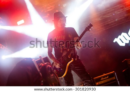 NOVI SAD; SERBIA - JULY 10 2015: MOTORHEAD performs at EXIT 2015 Music Festival; on July 10; 2015 at the Petrovaradin Fortress in Novi Sad; Serbia. - stock photo