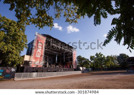 NOVI SAD, SERBIA - JULY 12 2015: The Main Stage at EXIT 2015 Music Festival, during daytime, on July 12, 2015 at the Petrovaradin Fortress in Novi Sad, Serbia. - stock photo