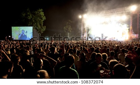 NOVI SAD, SERBIA - JULY 12: The Main Stage at EXIT 2012 Music Festival, during Duran Duran's performance on July 12, 2012 in the Petrovaradin Fortress in Novi Sad. - stock photo