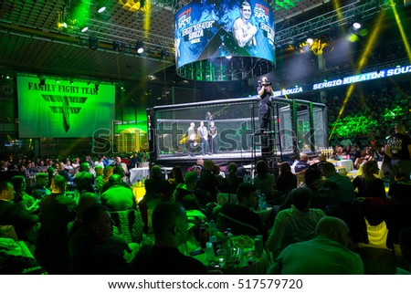 Novi Sad, Serbia - November 05 2016 : MMA - SBC fight turnament. Athletes in the ring extreme Sport. Fight night, profesional athletes.