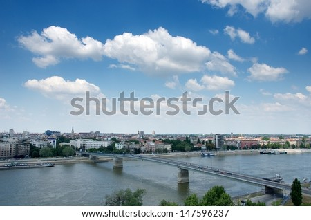 Novi Sad, View of Novy Sad, Serbia, serbian city, Novyj Sad, Balkans, Panoramic view of Novi Sad, Vojvodina, city view from the top, summer holidays in Serbia, city view with river background