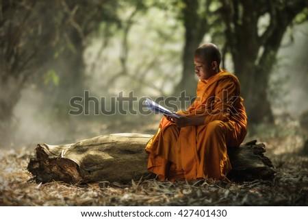 Novice monk learning - stock photo
