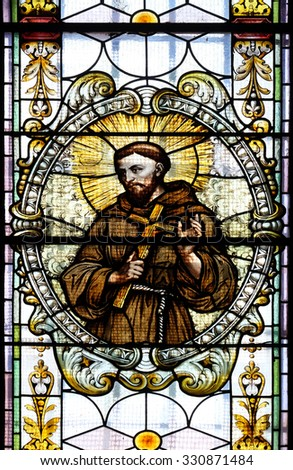 NOVO MESTO, SLOVENIA - JUNE 30: Saint Francis of Assisi, stained glass window in Cathedral of St Nicholas in Novo Mesto, Slovenia on June 30, 2015 - stock photo