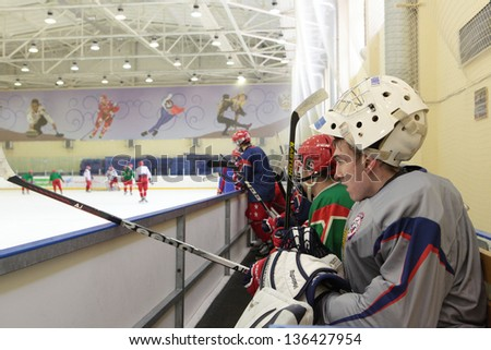 NOVOGORSK, RUSSIA - APRIL 12: Players of men's national junior ice hokey team during open training in Novogorsk training center, Moscow region, Russia on April 12, 2013 - stock photo