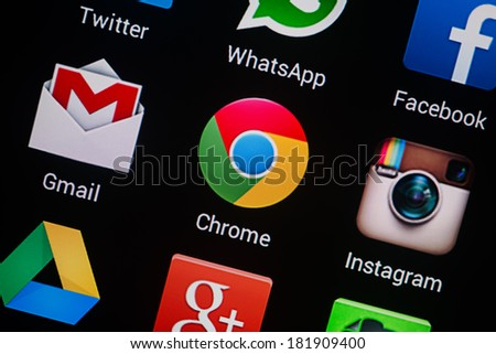 NOVOKUZNETS, RUSSIA - MARCH 13, 2014: Closeup photo of Google Chrome icon on mobile phone screen. - stock photo