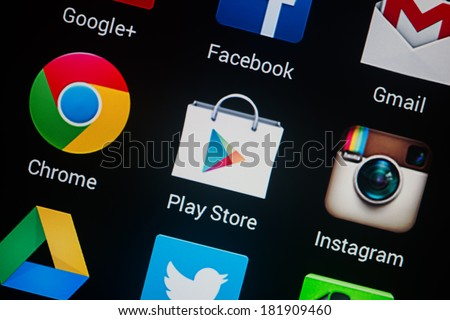 NOVOKUZNETS, RUSSIA - MARCH 13, 2014: Closeup photo of Google Play Store icon on mobile phone screen.  - stock photo