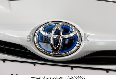 Novokuznetsk, Russia - August 24, 2017: Close up of Toyota logo on Toyota Prius car.