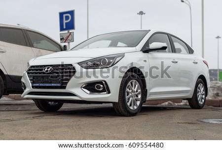 Novokuznetsk, Russia - Mart 25, 2017: Hyundai Accent (Solaris)