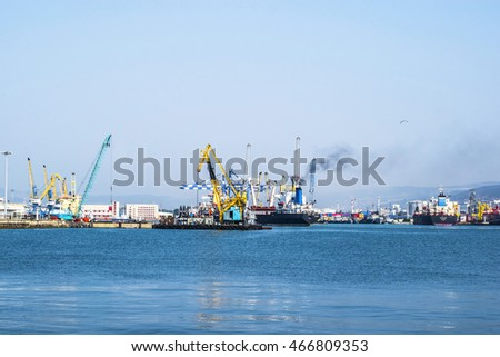 NOVOROSSIYSK, RUSSIA - AUGUST 10, 2016: Sea port