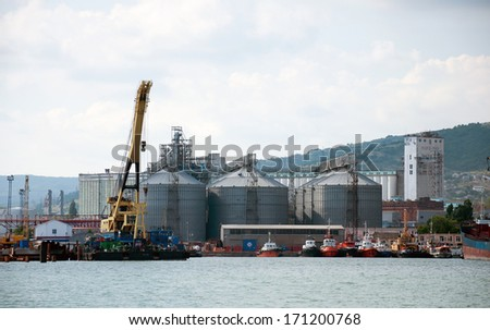 NOVOROSSIYSK, RUSSIA - JUNE 14.2013: the largest cargo port in the Black Sea in Novorossiysk. Has 45 berths length of 8.5 km