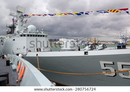 NOVOROSSIYSK, RUSSIA, MAY 9, 2015.Missile frigates naval forces of the Republic of China - stock photo
