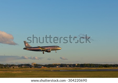 NOVOSIBIRSK - AUGUST 08: Czech Republic - Air Force Airbus A319-115X (3085) landing at Novosibirsk Tolmachevo Airport.  August 08, 2015 in Novosibirsk Russia