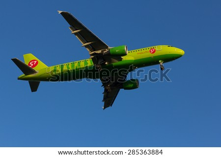 NOVOSIBIRSK - JUNE 07: Airbus A320 of S7 airlines at Novosibirsk Tolmachevo Airport. S7 is the founding airline of world's 3nd largest airline alliance - Oneworld. June 07, 2015 in Novosibirsk Russia - stock photo