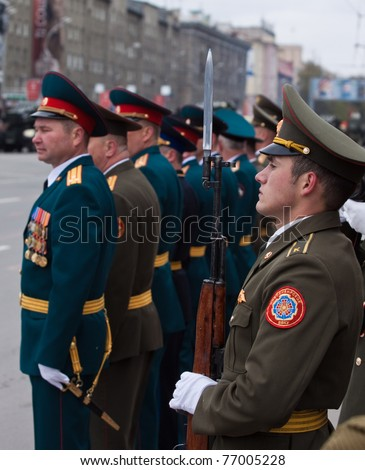 NOVOSIBIRSK - MAY 9: Ceremonial parade at Lenin Square - dedicated to the 66th Anniversary of victory in Great Patriotic War (World War II). Parade of victory on May 9, 2011, Novosibirsk, Russia