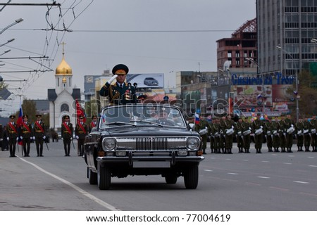 NOVOSIBIRSK - MAY 9: Commander of the 41st Army Vasiliy Tonkoshkurov  takes parade dedicated to Victory Day in Great Patriotic War on May 9, 2011, Novosibirsk Russia