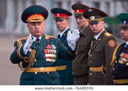 NOVOSIBIRSK - MAY 5: The Rehearsal of a parade dedicated to Victory Day in World War II, Commander of the 41st Army Vasiliy Tonkoshkurov gives instructions on May 5, 2011, Novosibirsk Russia