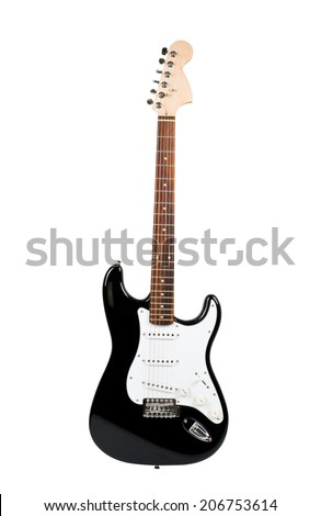 NOVOSIBIRSK, RUSSIA - JULY 24, 2014 black and white electric guitar isolated on white background , product shot