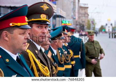NOVOSIBIRSK, RUSSIA - MAY 7: Commanders are participating in the parade on rehearse for a parade dedicated to Victory Day in World War II on May 7, 2011 in Novosibirsk, Russia.