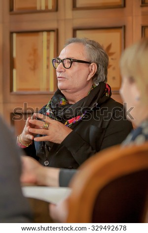 NOVOSIBIRSK, RUSSIA - october 1:Fashion designer Rocco Barocco Breakfast with journalists on the opening day of the first mono-brand store in Russia. ROCCO BAROCCO, october 1, 2015 Novosibirsk, Russia