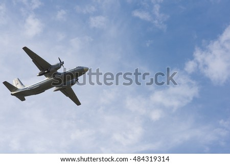 Novosibirsk, Russia - September 13, 2016: Soviet military transport aircraft An-26 in the sky