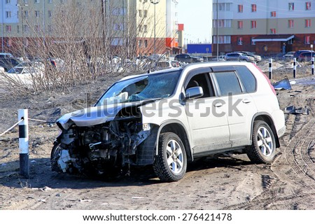 NOVYY URENGOY, RUSSIA - APRIL 25, 2015: Grey Nissan X-Trail after the accident at the city street.