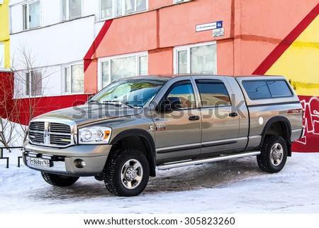 NOVYY URENGOY, RUSSIA - APRIL 12, 2014: Motor car Dodge Ram 2500 at the city street. - stock photo