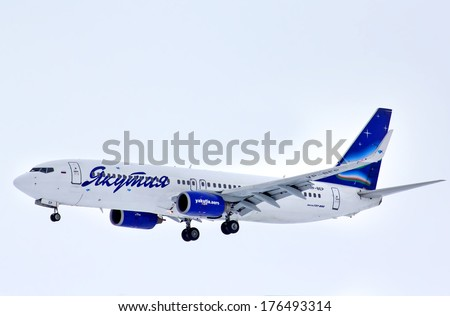 NOVYY URENGOY, RUSSIA - APRIL 23, 2013: Yakutia Airlines Boeing 737 arrives at Novyy Urengoy International Airport.