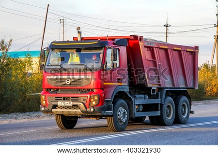 NOVYY URENGOY, RUSSIA - AUGUST 29, 2012: Dump truck Volvo FMX.400 at the interurban road. - stock photo