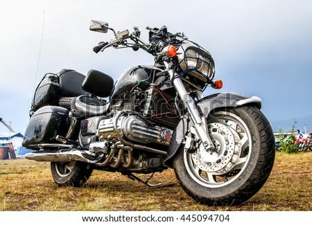 NOVYY URENGOY, RUSSIA - JUNE 25, 2016: Motorcycle Honda at the countryside. - stock photo