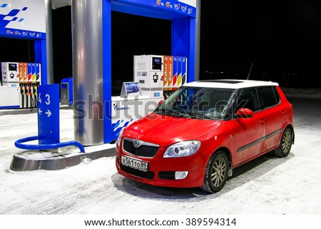 NOVYY URENGOY, RUSSIA - MARCH 9, 2016: Motor car Skoda Fabia SE at the gas station. - stock photo