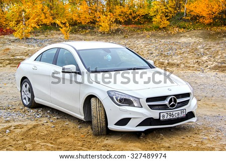 NOVYY URENGOY, RUSSIA - SEPTEMBER 13, 2014: Motor car Mercedes-Benz C117 CLA-class at the countryside. - stock photo