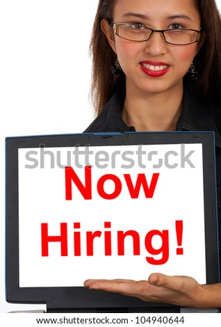 Now Hiring Computer Message Showing Online Or Internet Jobs - stock photo