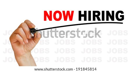 Now Hiring words made in 2d software with  background of words jobs - stock photo