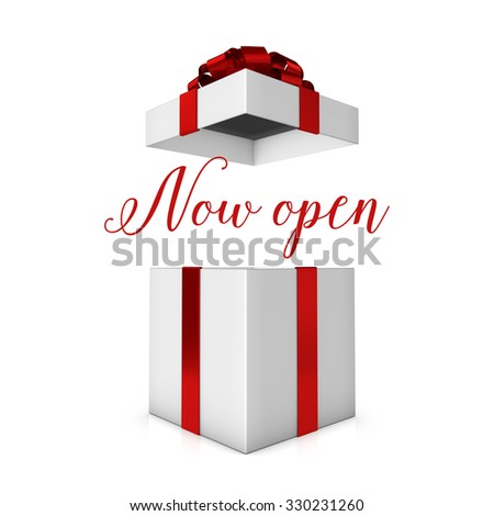 Now open red and white present - stock photo