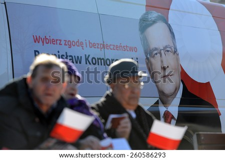 NOWY TARG, POLAND - MARCH 08, 2015: President of the Republic of Poland Bronislaw Komorowski during presidential election campaign