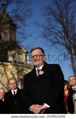 NOWY TARG, POLAND - MARCH 8, 2015: The commencement of the presidential campaign by Bronislaw Komorowski in Nowy Targ in  Malopolska