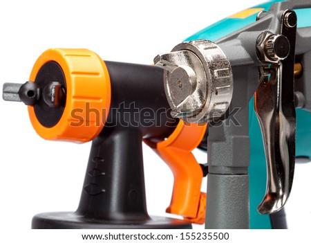 nozzle of a spray gun close up - stock photo