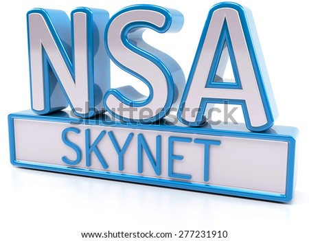 NSA SKYNET - National Security Agency - 3D Render - stock photo