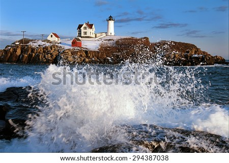 Nubble Light during the holidays in Maine. - stock photo