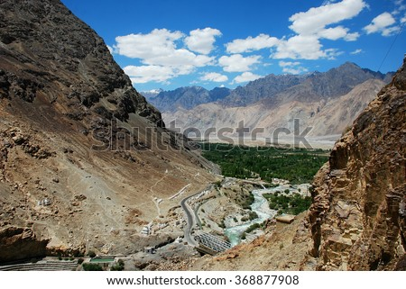 Nubra Valley is one of the Greenest valleys in Ladakh - stock photo