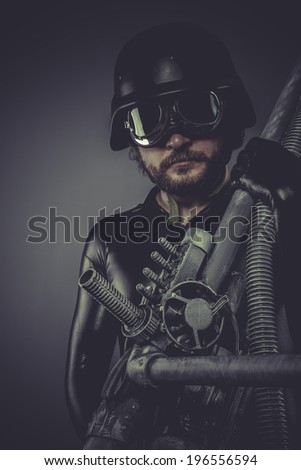 Nuclear army, Future soldier with huge weapon, sci-fi scene