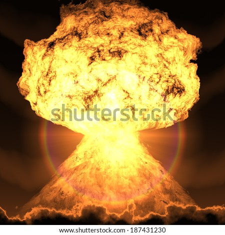 nuclear bomb explosion - stock photo